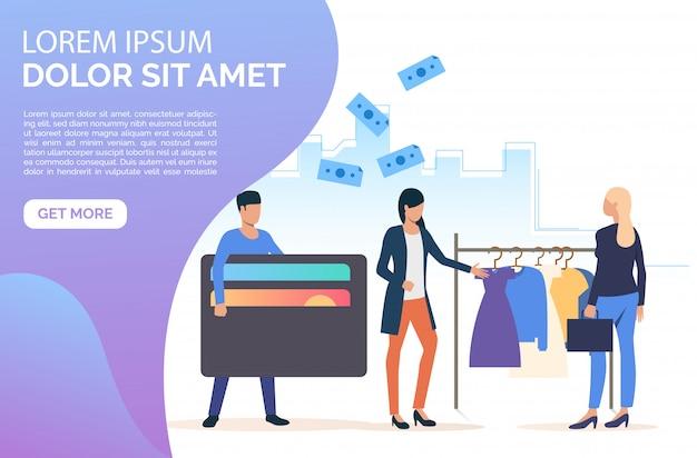 Pessoas comprando página da web de roupas