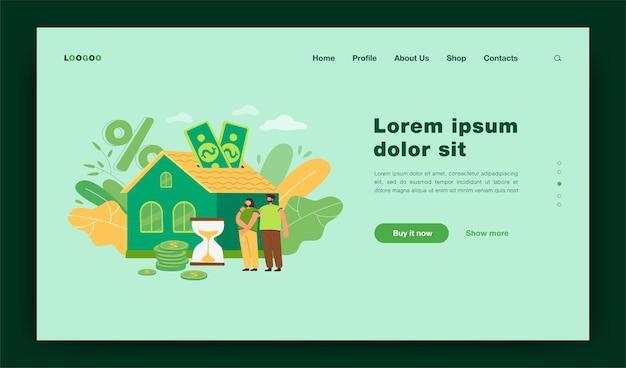 Pessoas comprando uma casa com ilustração plana de empréstimo hipotecário