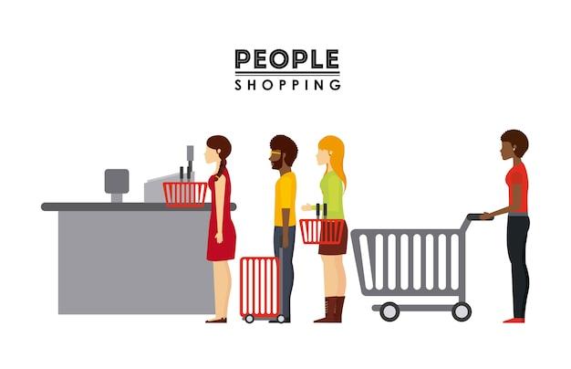 Pessoas compras design, ilustração de vetor eps10 gráfico