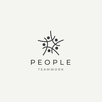 Pessoas comunidade equipe trabalho diversidade logotipo ícone design modelo ilustração vetorial plana