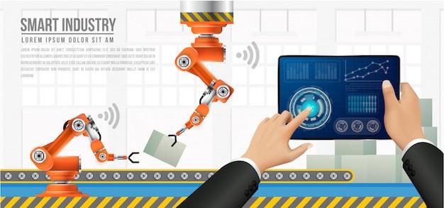 Pessoas conectando com uma fábrica usando smartphone e trocando dados com uma rede neural.