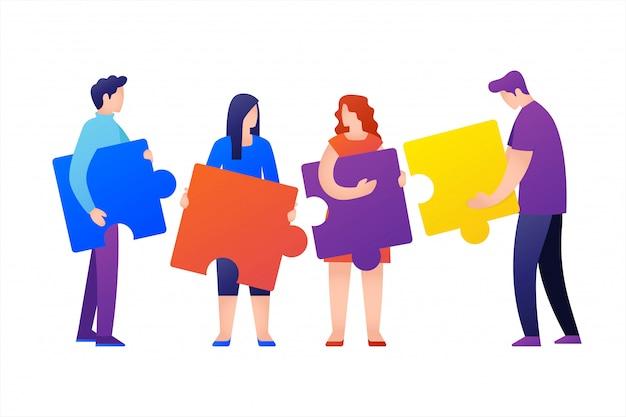 Pessoas conectando elementos de quebra-cabeça. símbolo do trabalho em equipe, cooperação, parceria, conceito de negócio.