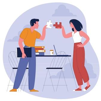 Pessoas conectando elementos do quebra-cabeça. símbolo de trabalho em equipe, cooperação, parceria.