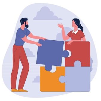 Pessoas conectando elementos do quebra-cabeça.