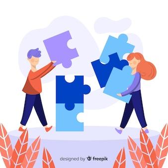 Pessoas conectando peças de quebra-cabeça colorido fundo