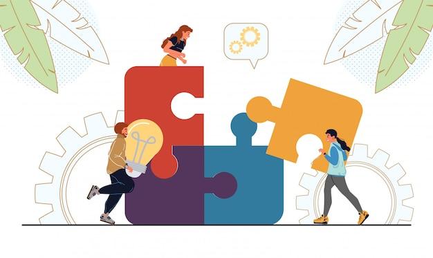 Pessoas conectando peças de quebra-cabeça de negócios