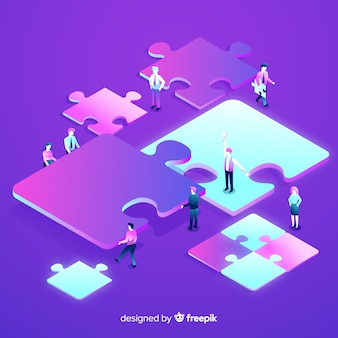 Pessoas conectando peças puzzle fundo isométrico