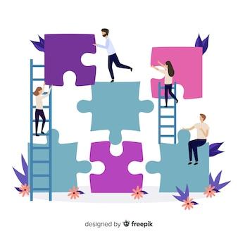 Pessoas, conectando, quebra-cabeça, pedaços, fundo