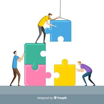 Pessoas, conectando, quebra-cabeça, pedaços, ilustração