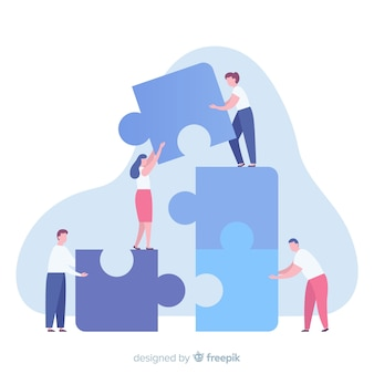 Pessoas, conectando, quebra-cabeça, pedaços