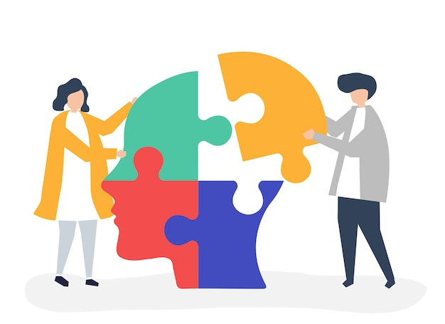 Pessoas, conectando, quebra-cabeças, pedaços, de, um, cabeça, junto