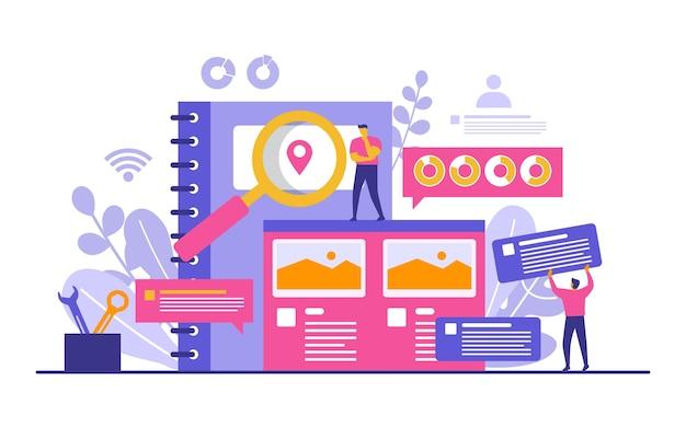 Pessoas constroem o design do site da web ilustração do desenvolvimento do projeto