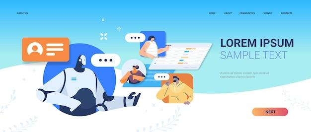 Pessoas conversando com a página de destino do assistente robótico do chatbot