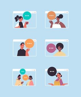 Pessoas conversando durante a videochamada homens mulheres em conferência virtual ao vivo em janelas de computador
