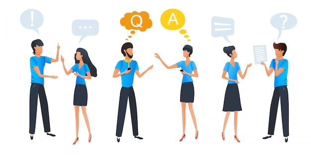 Pessoas conversando e pensando, comunicação de bate-papo em grupo com bolhas do discurso de diálogo colorido