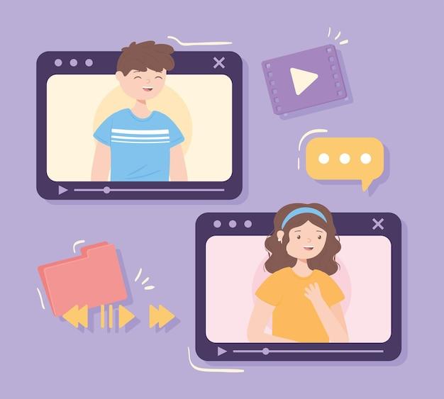 Pessoas conversando por vídeo