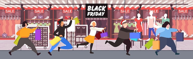 Pessoas correndo com compras grande liquidação de sexta-feira negra