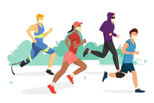 Pessoas correndo com máscaras médicas