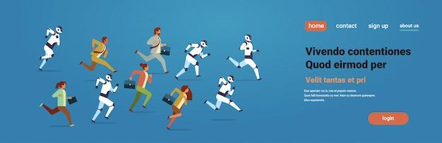 Pessoas correndo concorrência com robôs modernos banner de inteligência artificial