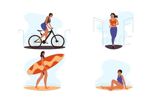 Pessoas correndo e tendo atividades esportivas