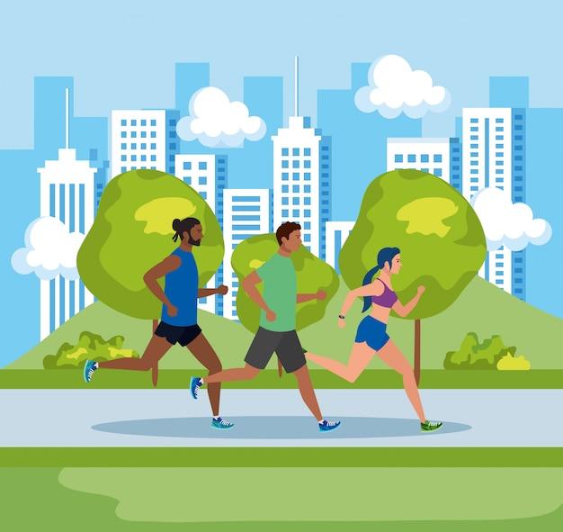 Pessoas correndo na paisagem, homens e mulher correndo ao ar livre, pessoas no sportswear correndo no parque