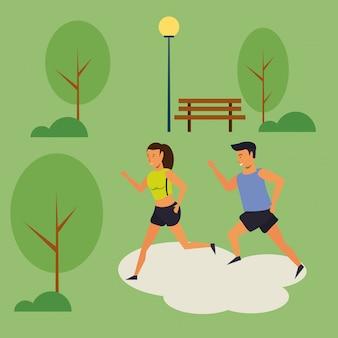 Pessoas correndo no desenho do cenário do parque