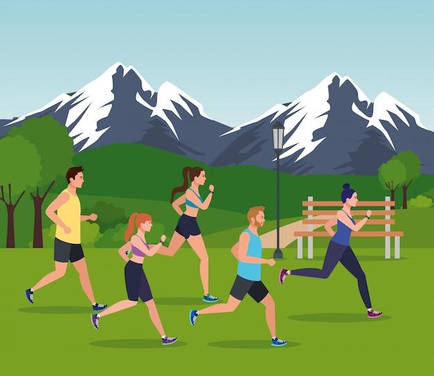 Pessoas correndo paisagem montanhosa, pessoas correndo ao ar livre avatar personagens ilustração design