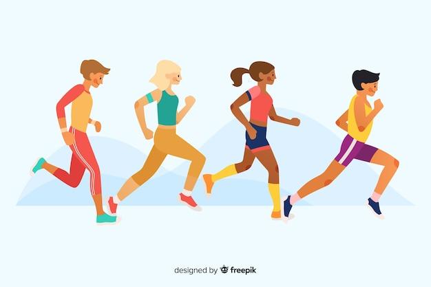 Pessoas correndo uma maratona