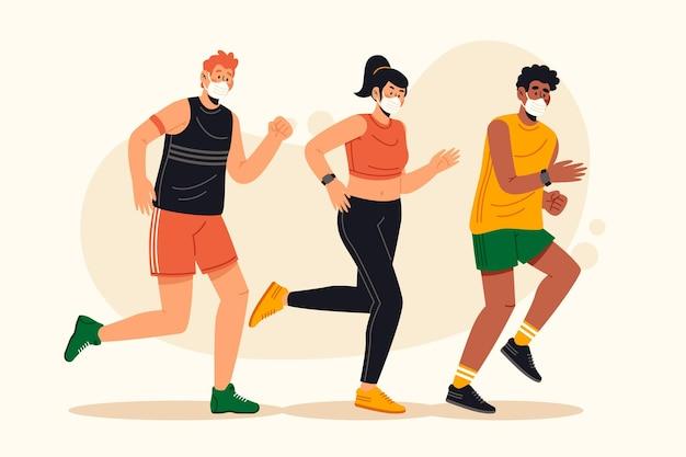 Pessoas correndo usando máscaras médicas