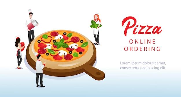 Pessoas cozinham pizza. página inicial do site.