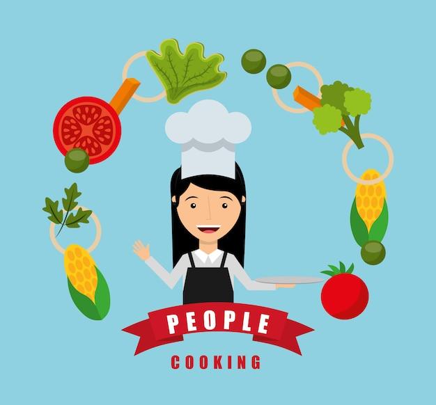 Pessoas cozinhando design