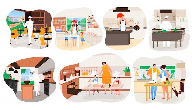 Pessoas cozinhando em casa, personagem de desenho animado restaurante cozinha chef, ilustração