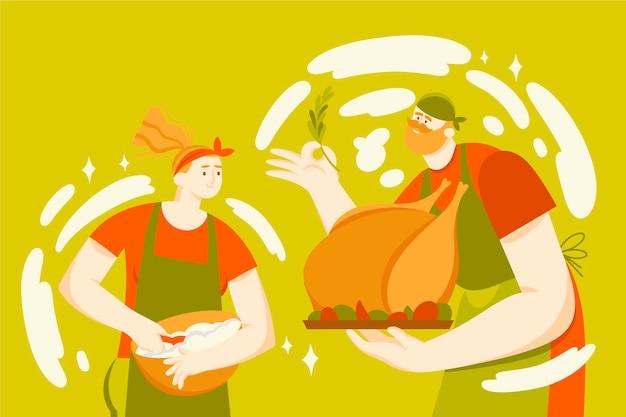 Pessoas cozinhando frango