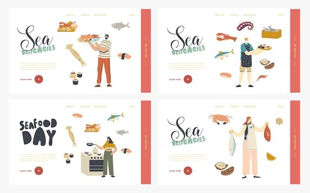 Pessoas cozinhando frutos do mar landing page template set.
