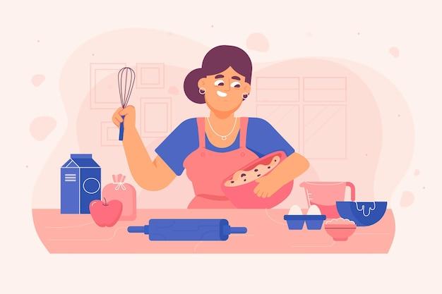 Pessoas cozinhando ilustração