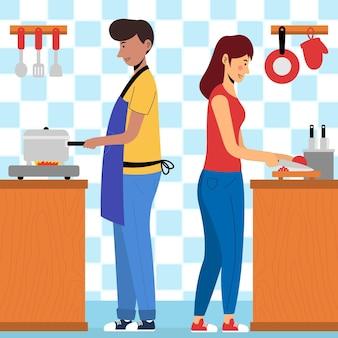 Pessoas cozinhando ilustradas