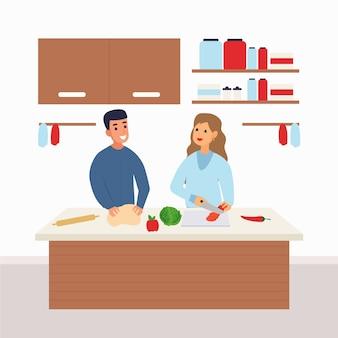 Pessoas cozinhando juntos