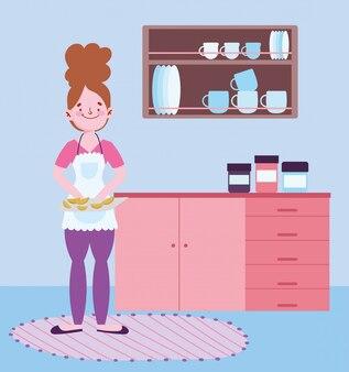 Pessoas cozinhando, menina com fatias de laranja na tábua na ilustração de cozinha