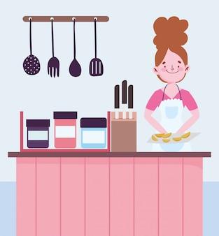 Pessoas cozinhando, mulher com facas de talheres contador de alimentos cozidos na cozinha