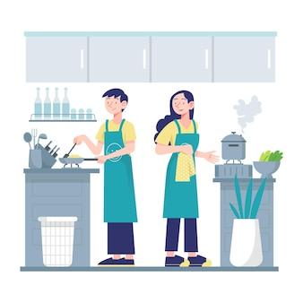 Pessoas cozinhando o conceito