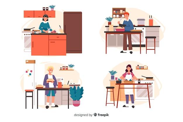 Pessoas cozinhar coleção