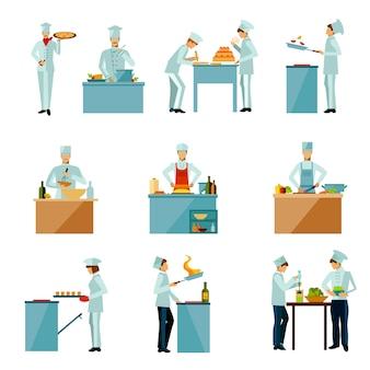 Pessoas cozinhar conjunto