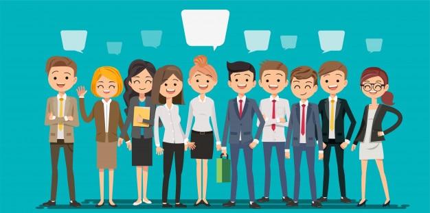 Pessoas criando negócios em estilo cartoon