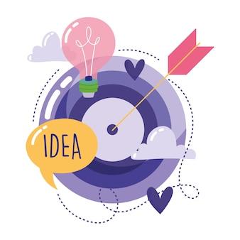 Pessoas criatividade tecnologia, alvo seta bulbo idéia dos desenhos animados