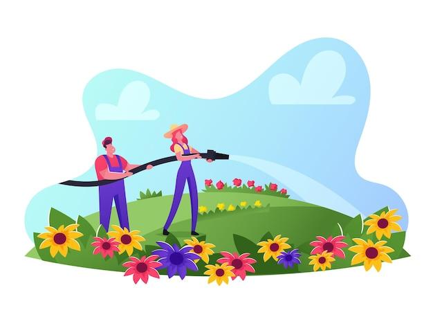 Pessoas cuidam das flores no campo, atividade sazonal ao ar livre