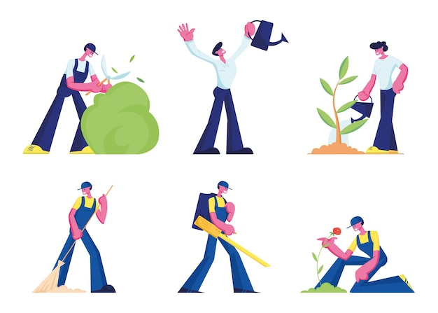 Pessoas cuidam de plantas, conjunto de serviço de limpeza. ilustração plana dos desenhos animados