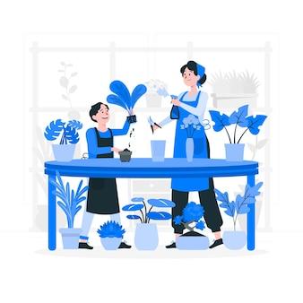Pessoas cuidando da ilustração do conceito de planta