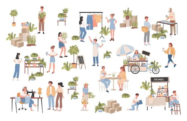 Pessoas cuidando das plantas