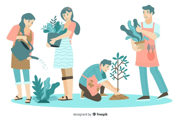 Pessoas cuidando de plantas design plano