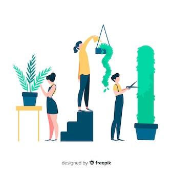 Pessoas cuidando de plantas, jardineiros trabalhando